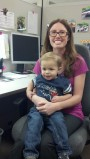 Parker visiting mommy at work