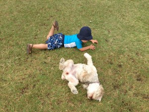 Parker and our dog Cider rolling in the grass ;)