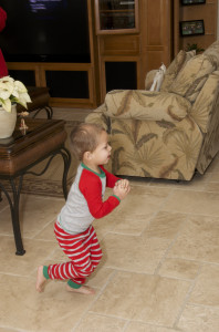 Parker running over to see what Santa brought him
