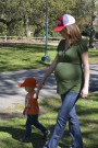 This is me all sorts of pregnant at the park with Parker the last  weekend before Austin was born
