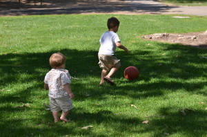 The boys playing ball together :)