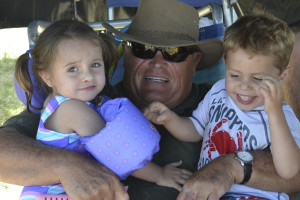 Clint's dad enjoying his oldest grandkids