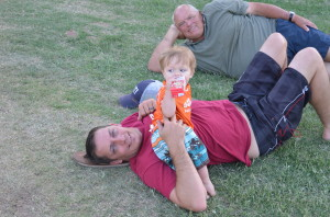 Austin hanging out with Grandpa and Daddy