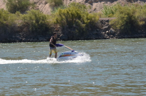 Luke takes a turn on the jet ski