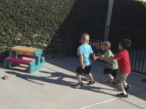 Parker running with his friends