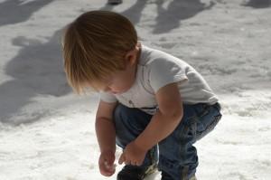 Austin makes a snow ball