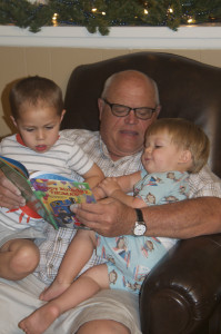 Grandpa reads to the boys