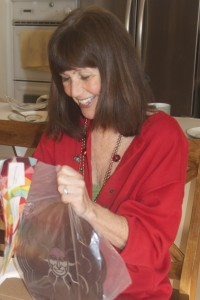My mom opens a present