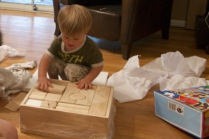 Wooden blocks from mom and dad