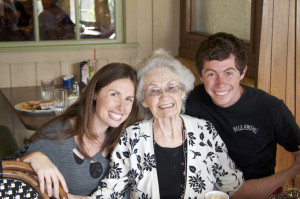 My brother and I with my Grandma at one of our many Mimi's celebrations