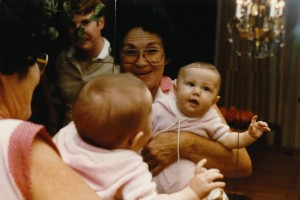 Grandma playing with me in the mirror