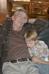 Austin decided Grandpa was a comfortable place to sleep