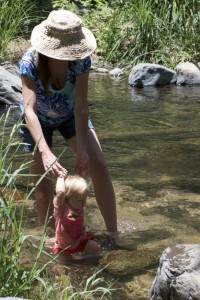 Audrey powering through the stream at less than a year old