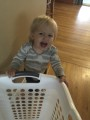 Audrey pushing a laundry basket